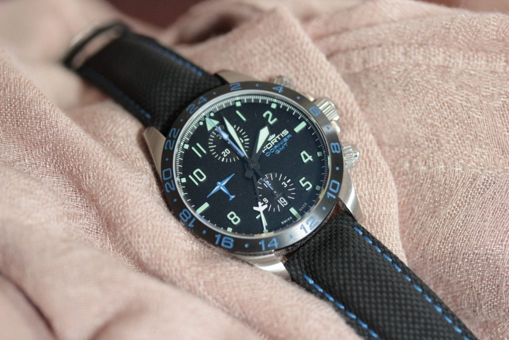 Fortis Dornier GMT chronograph on scarf