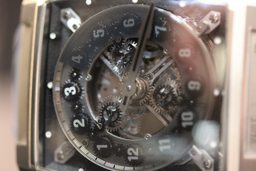 Closeup of the dial side of the Vault Swiss V1