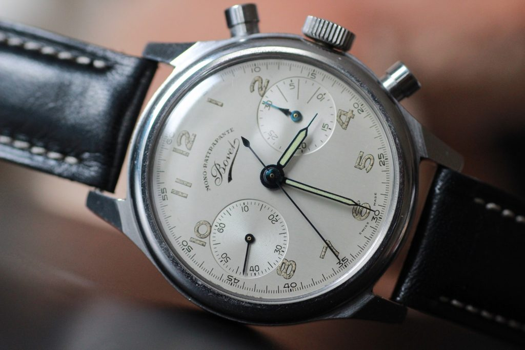 """Vintage Bovet Monorattrapante, an interesting complication where the chronograph hand is """"thinking"""" when paused where it has to continue."""